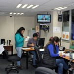 News staff gather information about an earthquake that struck Peru.