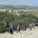 Goshen SST students, leaders and friends hiking to the Sacred City of Caral.