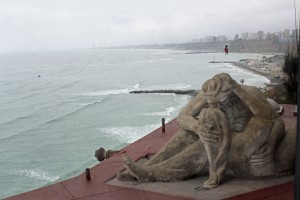 A model of El Beso (The Kiss), Victor Delfin's most famous sculpture. El Beso, said to depict Delfin kissing his wife, is located in a park in the nearby Miraflores district.
