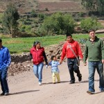 Joshua, Alan and their host family head to church.