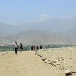 Arriving at the Sacred City of Caral. Joshua is in the lead.