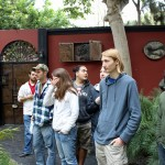 GC students in the courtyard of the Victor Delfin studio and guest house.