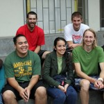 Rudy and Alan (back row) and Jacob, Landon and Joshua (front row) pose with two Peruvian students.