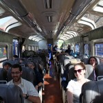 Jacob, Rudy, Becca, Alan and other students enjoying the Peru Rail ride from Ollantaytambo to Aguas Calientes, the gateway to Machu Picchu.