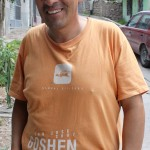 Dionisio Bautista Gomez, Rudy's host father, wearing a stylish Goshen College shirt.
