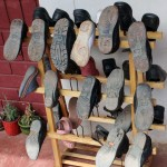 To keep classrooms cleaner, students leave their dusty shoes outside.