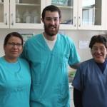 Rudy with (from left) Varinia Martinez Camadro, a nurse, and Estefania Lisana, a technician, at the Centro de Salud.