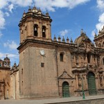 The cathedral on Cusco's central plaza was started in 1559 and built on top of the ruins of the Inca ruler's palace using blocks taken from other Incan structures.