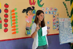 Lauren teaches the children about numbers.