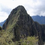 Wayna Picchu, the mountain which rises behind Machu Picchu. A trail  can be climbedd to its peak at 8,920 feet.