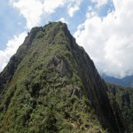 A closer view of Wayna Picchu, which rises behind Machu Picchu. A trail  can be climbedd to its peak at 8,920 feet.