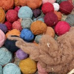 The alpaca wool yarns are colored with natural dyes made from plants and insects.