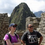 Becca and Jacob tour Machu Picchu. Behind them is Wayna Pichhu.