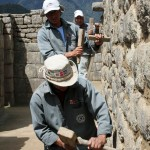Restoration work at Machu Picchu.