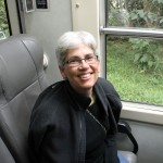 SST co-leader Judy Weaver abroad the Vistadome train.