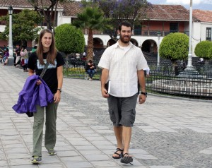 Lauren and Rudy stroll in the Plaza Mayor in Ayacucho.