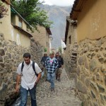 Walking the cobblestone streets of Ollantaytambo.