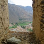 The town of Ollantaytambo from the window of one of the Incan storehouses.