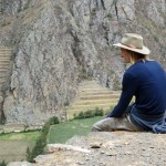 From the site of the storehouses, Landon views the great Incan fort of Ollantaytambo on the opposite hillside.