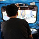 The view from inside a moto taxi in Tarma.