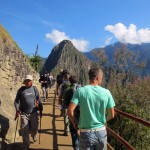 Students arrive at Machu Picchu.