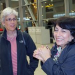 SST Peru Co-Director Judy Weaver with Peru SST Study Coordinator Celia Vasquez at the airport..