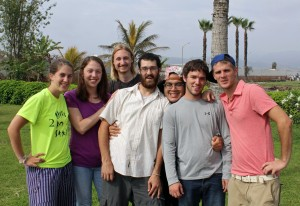 Lauren, Becca, Landon, Rudy, Jacob, Joshua and Alan pause for a final group photo at Kawai before boarding the bus to return to Casa Goshen and their last evening in Peru.