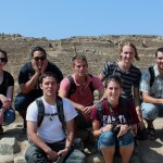 Students pause during their visit to the ancient city of Caral –  Joshua and Lauren (front row) Alan (middle) and Becca, Jacob, Landon and Rudy (back row).