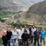 SST Peru Co-Directors Judy Weaver and Richard R. Aguirre with Becca, Alan, Jacob, Landon, Rudy, Joshua and Lauren with SST Peru Service Coordinator Wilfredo Villavicencio (front) at Ollantaytambo in Peru's Sacred Valley.