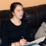 Becca pauses to listen to another student at Casa Goshen.