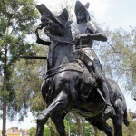 The statue in the Parque de la Muralla (Park of the Wall) depicting a conquistador said to be Francisco Pizarro.