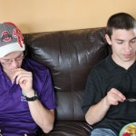 Thomas and Jake eat unfamiliar fruit.