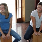 Gina and Maria take their turn on the cajón.