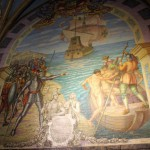 A mural depicting Francisco Pizarro's conquest of Peru.
