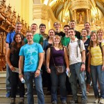 Students pose in front of the main altar in the Cathedral of Lima. The are (front row, left to right) Derek, Aimee, Jake, Gina and (middle row)  Maria, Malaina, Caleb, Gretchen and Natalie and (top row) Thomas, Dean, Jonathan, Jackson, Neal and Aimee.