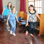 April, Gina and Peru SST Lima Coordinator Celia Vasquez try to repeat Camilio's zapateo steps.