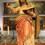 A stunning statue of Saint John the Evangelist carved from wood.