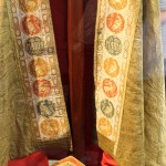 Vestments worn by Pope John Paul II during his 1985 visit to Peru.