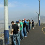Students take in panoramic views of central Lima.