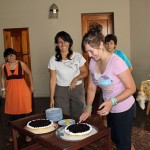 Following a Peruvian tradition, Malaina cuts the birthday cake.