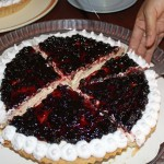 Malaina's birthday cake – cheesecake topped with elderberries.
