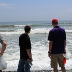 Students take in the magnificence of the Pacific Ocean.