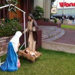 The nativity scene in front of Santa Maria Reina, a Catholic Church in the Ovalo Gutierrez, which divides the Miraflores and San Isidro districts in Lima, Peru.