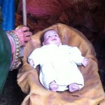 This baby Jesus is part of the large nativity scene in Paque Kennedy, in the Miraflores district of Lima.