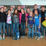 Students at the international airport in Lima en route to Cusco.