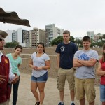 Students at the Huaca Pucllana.