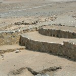 A closer look at the amphitheater at Caral.