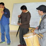 Mauro Claros, Pablo Flores  and Americo Mejia played Andean music for students.