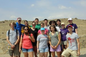 Students in front of the main pyramid at Caral.