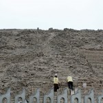Restoration work at the Huaca Pucllana.